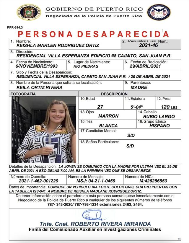 Ficha de personas desaparecida en relación a Félix Verdejo